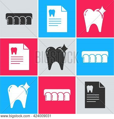 Set Dentures Model, Clipboard With Dental Card And Tooth Whitening Concept Icon. Vector