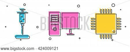 Set Syringe, Computer Monitor And Processor With Microcircuits Cpu Icon. Vector