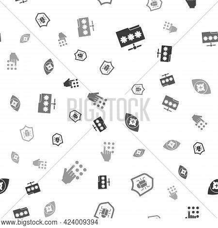 Set Folder With Password, System Bug, Eye Scan And Password Protection On Seamless Pattern. Vector