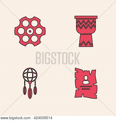 Set Wanted Western Poster, Revolver Cylinder, Drum And Dream Catcher With Feathers Icon. Vector