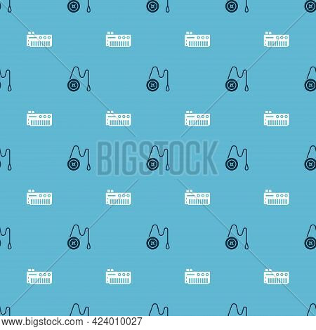 Set Yoyo Toy And Music Synthesizer On Seamless Pattern. Vector