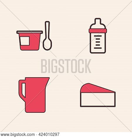 Set Cheese, Yogurt Container With Spoon, Baby Milk Bottle And Milk Jug Or Pitcher Icon. Vector