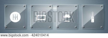 Set Screwdriver, Car Service, Fuse And Gear Shifter. Square Glass Panels. Vector