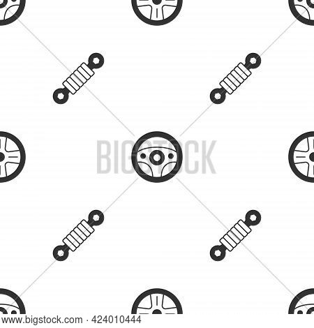 Set Alloy Wheel, Steering And Shock Absorber On Seamless Pattern. Vector