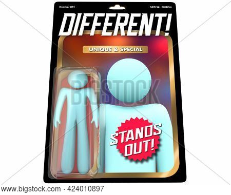 Different Person Unique Special Individual Stand Out Action Figure Toy 3d Illustration