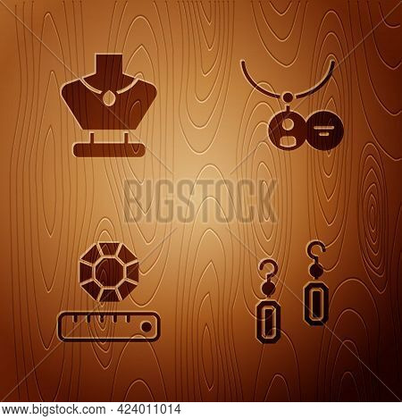 Set Earrings, Necklace On Mannequin, Gem Stone And Locket Necklace On Wooden Background. Vector