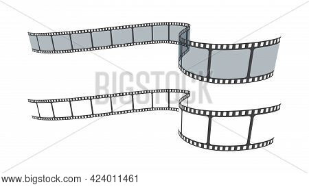 Film Strips Collection Isolated On White Background. Film Strip In Perspective. Retro 35mm Foto And