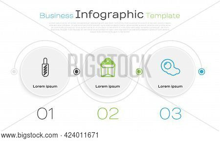 Set Line Hotdog Sandwich, Noodles In Box And Scrambled Eggs. Business Infographic Template. Vector