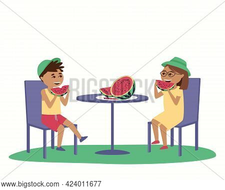 Children Eat Watermelon At A Table Outside. In Summer, Children Wear Caps Outside. Isolated Boy And