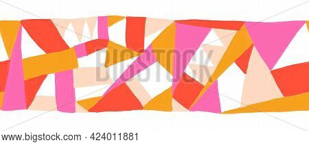 Hand Drawn Abstract Trendy Border Print. Colorful Creative Collage Pattern Horizontal Repeating Oran