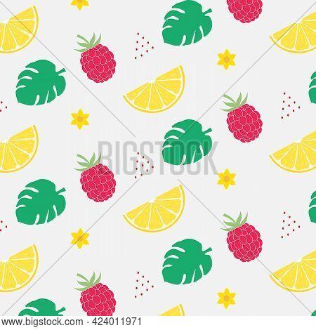 Seamless Pattern With Raspberries, Tropical Leaves, Lemon Wedges, Flowers.