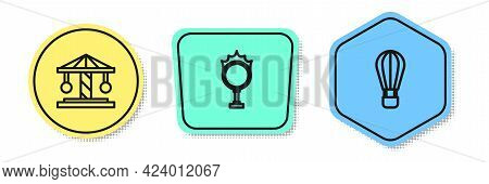Set Line Attraction Carousel, Circus Fire Hoop And Hot Air Balloon. Colored Shapes. Vector