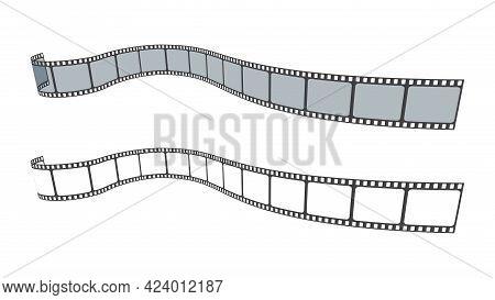 3d Film Strip In Isometric Style. Set Of Blank Cinema Film Strip Frames. Art Design Filmstrip For Ad