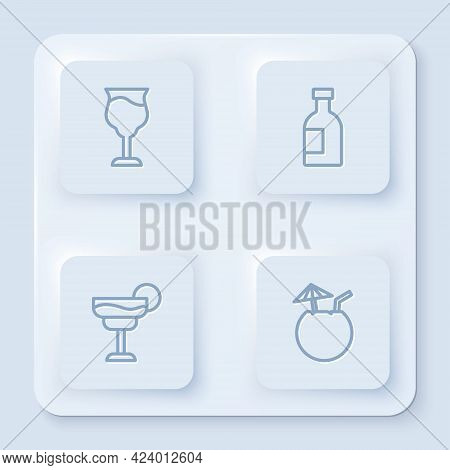 Set Line Wine Glass, Glass Bottle Of Vodka, Cocktail And Coconut Cocktail. White Square Button. Vect