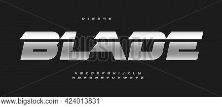 Blade Alphabet Bold Italic Font Letters. Auto Logo Typography, Iron Metallic Vector Typographic. Dri