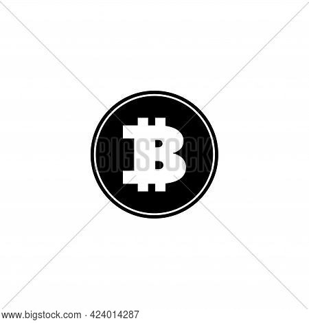 Crypto Currency Bitcoin, Blockchain Cryptocurrency. Flat Vector Icon Illustration. Simple Black Symb