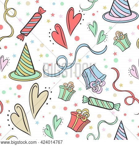 Childrens Holiday Seamless Pattern, Vector. Cute Background With Sweets, Hearts, Ribbons, Gifts And