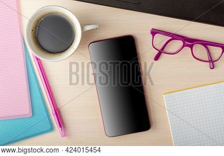 Business Concept. Top View. Folders With Financial Documents, Invigorating Coffee And Gadgets, A Pho