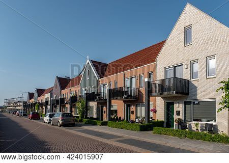 Dutch Suburban Area With Modern Family Houses, Newly Build Modern Family Homes In The Netherlands, D