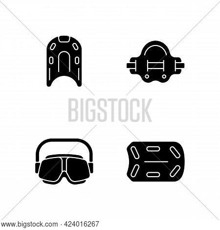 Swimming Pool Supplies Black Glyph Icons Set On White Space. Kickboard. Aqua Jogger. Swimming Goggle