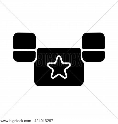 Puddle Jumper Black Glyph Icon. Keeping Child Safe In Swimming Pool And Sea. Equipment For Young Swi