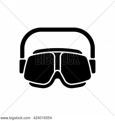 Swimming Goggles Black Glyph Icon. Eyes Protection In Swimming Pool. Watertight, Easy-to-wear Equipm