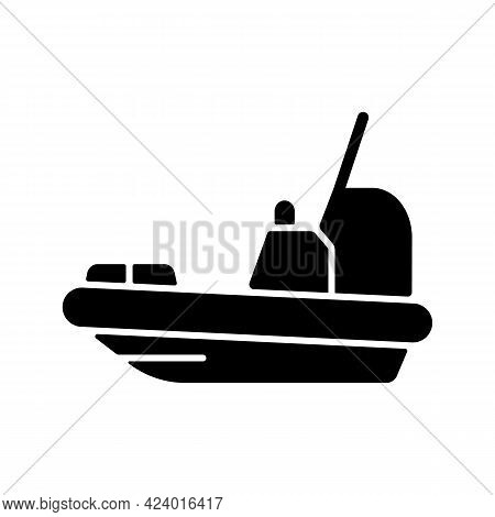 Rescue Boat Black Glyph Icon. Lifeboat For Victims Rescuing. Survival Craft. Saving Lives At Sea, Oc
