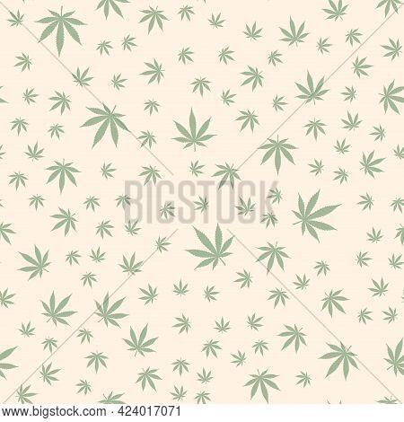 Cannabis Leaf Seamless Pattern. Medicine Marijuana Medical Cannabis Sign Vector Background Fabric Te