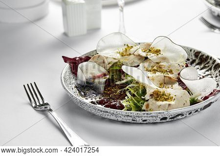 Traditional Italian Cuisine Vitello Tonnato, Marinated Veal Appetizer With Creamy Tuna Sauce, Close-