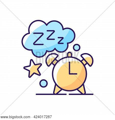 Sleep Time Rgb Color Icon. Alarm Clock. Watch Dial With Nighttime. Countdown To Morning Wake Up. Nig