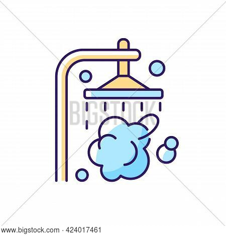 Shower Rgb Color Icon. Shower Faucet With Running Water. Rinse And Wash For Personal Hygiene. Stream