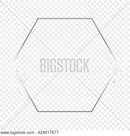 Silver Glowing Hexagon Frame With Sparkles Isolated On Transparent Background. Shiny Frame With Glow