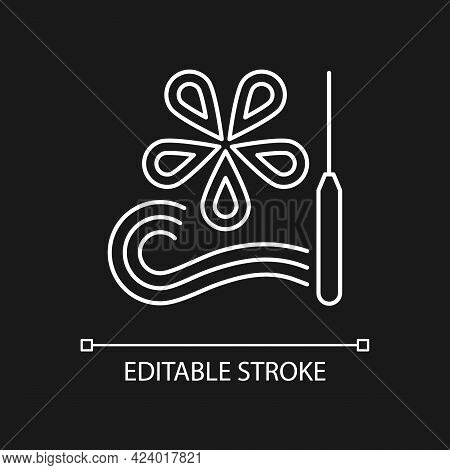 Paper Quilling White Linear Icon For Dark Theme. Creating Decorative Designs. Using Slotted Tool. Th