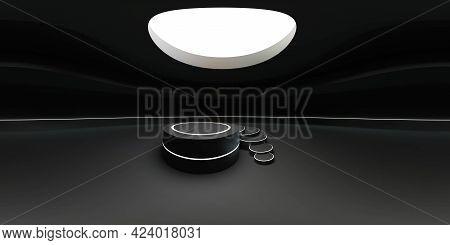 Dark Futuristic 360 Degree Panorama View Of Futuristic Round Empty Product Presentation Exhibition H