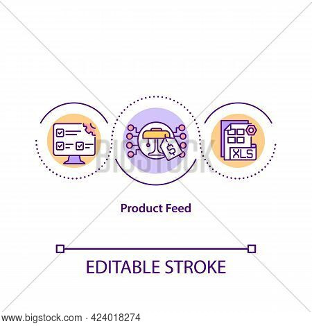 Product Feed Concept Icon. Information About Products On Marketplace. Data In Online Shop Abstract I