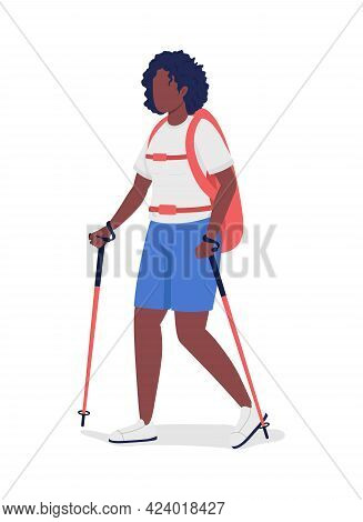 Woman On Nordic Walk Semi Flat Color Vector Character. Trekker Figure. Full Body Person On White. Ou