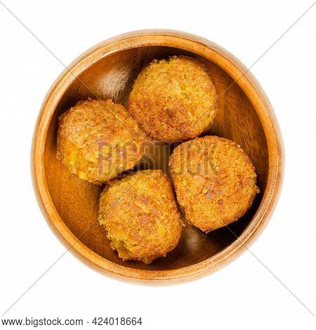 Fried Vegan Falafel Balls, In A Wooden Bowl. Group Of Ball Shaped Fritters, Based On Chickpeas And R
