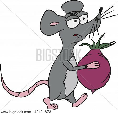 Cartoon Mouse With Angry Expression With Beetroot