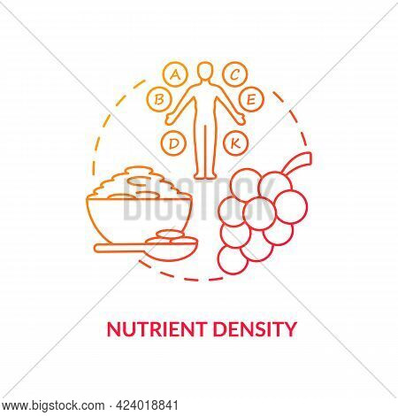 Nutrient Density Concept Icon. Amount Of Nutritions Included In Food. Quality Of Products. Healthy E