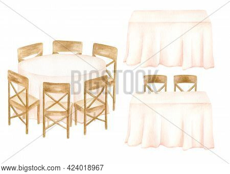 Watercolor Banquet Tables Illustration Set. Hand Drawn Round, Rectangle Tables With Pastel Draped Ta