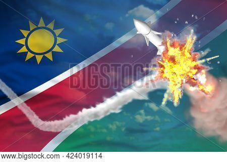 Namibia Intercepted Supersonic Missile, Modern Antirocket Destroys Enemy Missile Concept, Military I