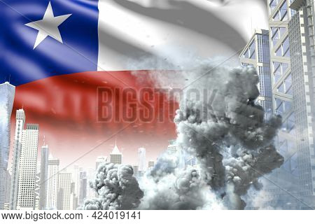 Large Smoke Column In Abstract City - Concept Of Industrial Accident Or Terrorist Act On Chile Flag