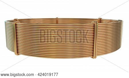 Copper Wire Skein, Isolated Digital Industrial 3d Rendering