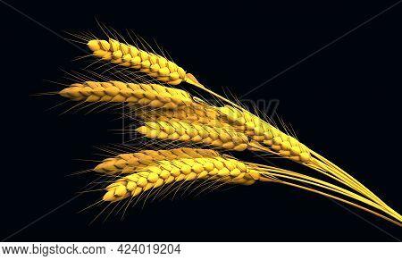 Goldish Rye Sheaf, Farm Yield Isolated. Nature 3d Illustration