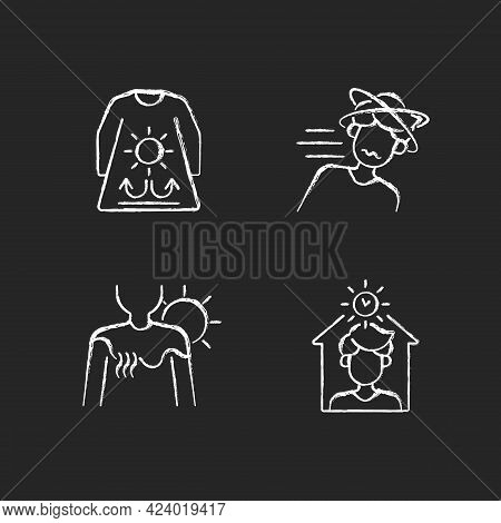 Sunstroke Risk During Summer Chalk White Icons Set On Dark Background. Long Sleeves And Loose Clothi