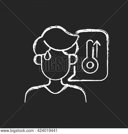 High Body Temperature Chalk White Icon On Dark Background. Sweating Man During Summer Heat Wave. Man