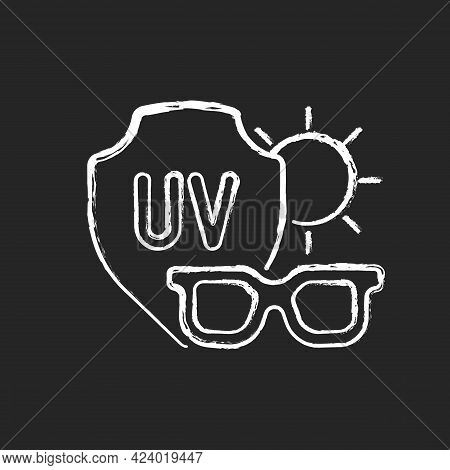Sunglasses Chalk White Icon On Dark Background. Glasses For Eye Protection From Uv Rays. Preventing