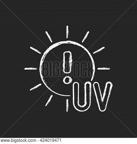 Danger Of Uv Rays Chalk White Icon On Dark Background. Ultraviolet Exposure Risk During Summer. Caut