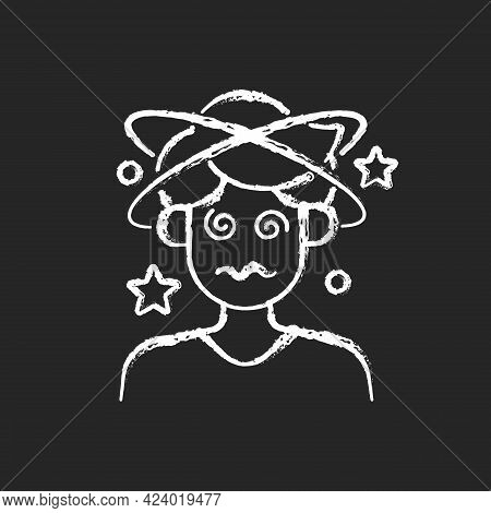 Dizziness And Confusion Chalk White Icon On Dark Background. Man With Headache Losing Consciousness.