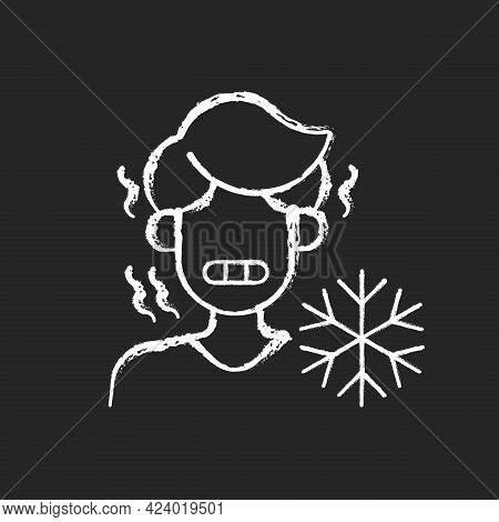 Chills Chalk White Icon On Dark Background. Man Shiver From Cold. Person In Cool Weather. Human Free